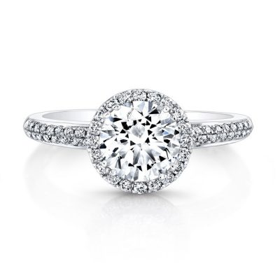 fm27011 18w front 1 1 400x400 - 18K WHITE GOLD DIAMOND HALO BEZELSET ACCENT ENGAGEMENT RING FM27011-18W