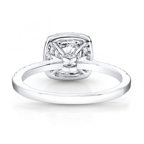 fm26921 18w back 500x500 - 18K WHITE GOLD SQUARE HALO ENGAGEMENT RING FM26921-18W