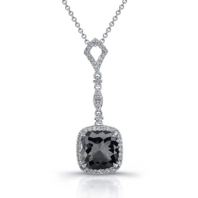 22815blk w 400x400 - 18K WHITE GOLD ROSE CUT BLACK DIAMOND PENDANT 22815BLK-W