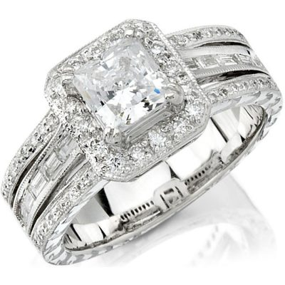 nk10131 w 3 400x400 - 14K WHITE GOLD DIAMOND BAGUETTE HALO SEMI MOUNT ENGAGEMENT RING NK10131-W