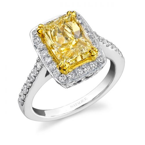 nk15691fy wy 3 500x500 - 14K WHITE AND YELLOW GOLD RADIANT FANCY YELLOW DIAMOND RING NK15691FY-WY