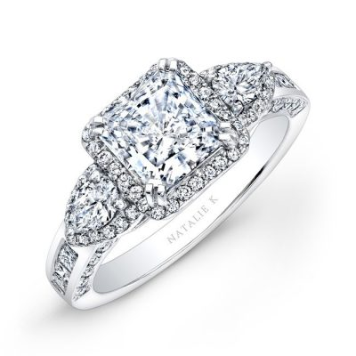 nk17954 w 2 3 400x400 - 18K WHITE GOLD PRINCESS HALO DIAMOND ENGAGEMENT RING WITH PEAR SIDE STONES NK17954-18W