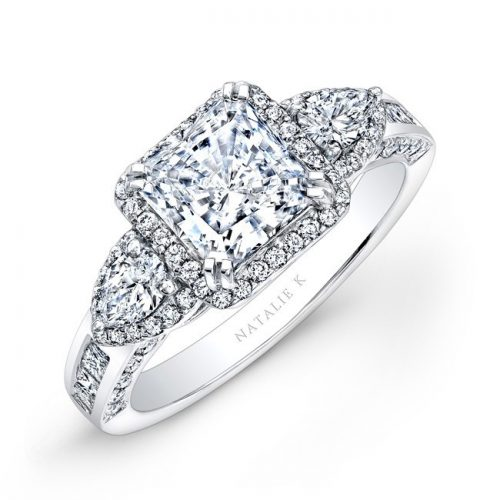 nk17954 w 2 3 500x500 - 18K WHITE GOLD PRINCESS HALO DIAMOND ENGAGEMENT RING WITH PEAR SIDE STONES NK17954-18W