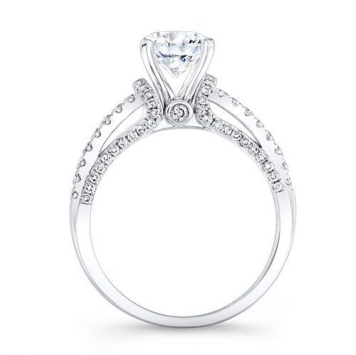 nk25791 w profile 2 1 500x499 - 18K WHITE GOLD PRONG AND BEZEL ROUND DIAMOND ENGAGEMENT RING NK25791-18W