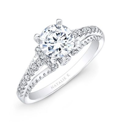 nk25791 w thrree qrtr 2 3 400x400 - 18K WHITE GOLD PRONG AND BEZEL ROUND DIAMOND ENGAGEMENT RING NK25791-18W