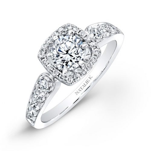 nk25878 w 3 500x499 - 18K WHITE GOLD PAVE SQUARE HALO DIAMOND ENGAGEMENT RING NK25878-18W