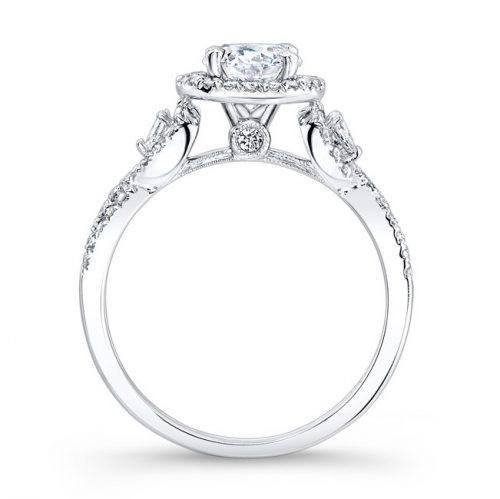 nk26281 w profile 1 500x499 - 18K WHITE GOLD HALO DIAMOND ENGAGEMENT RING WITH PEAR SHAPED SIDE STONES NK26281-W