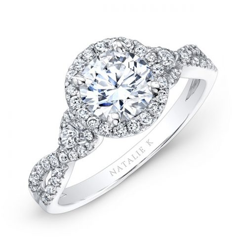 nk26281 w three qrtr 1 3 500x500 - 18K WHITE GOLD HALO DIAMOND ENGAGEMENT RING WITH PEAR SHAPED SIDE STONES NK26281-W