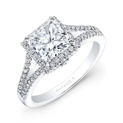 nk28085 18w three qrtr 3 3 400x400 - 18K WHITE GOLD SPLIT SHANK PRINCESS CUT HALO DIAMOND ENGAGEMENT RING