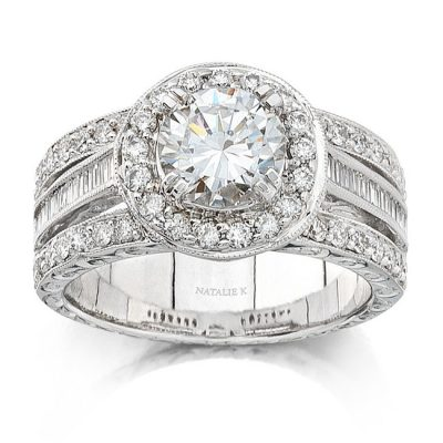 nk8412eng 1 3 1 400x400 - 14K WHITE GOLD VINTAGE HALO DIAMOND ENGAGEMENT SEMI MOUNT RING NK8412-W