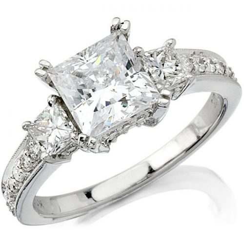 nk9174 w 3 500x500 - 18K WHITE GOLD SPLIT SHANK DIAMOND ENGAGEMENT RING FOR A PRINCESS CUT CENTER