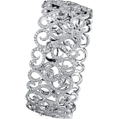 14K 400x400 - 14K WHITE GOLD PAVE BEZEL LADIES DIAMOND BANGLE