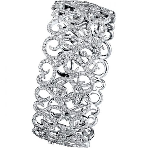 14K 500x500 - 14K WHITE GOLD PAVE BEZEL LADIES DIAMOND BANGLE
