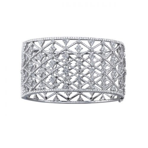 bangel 500x500 - 18K WHITE GOLD PAVE BEZEL ROUND DIAMOND BANGLE