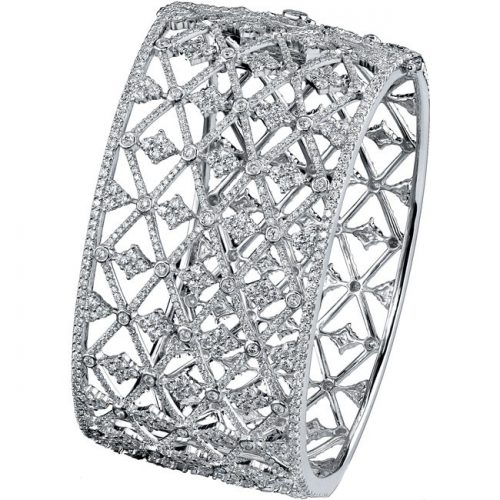 bangle2 1 500x500 - 18K WHITE GOLD PAVE BEZEL ROUND DIAMOND BANGLE