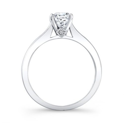 fm26930 18w profile 500x499 - 18K WHITE GOLD SINGLE BEZEL-SET DIAMOND ACCENT SOLITAIRE ENGAGEMENT RING