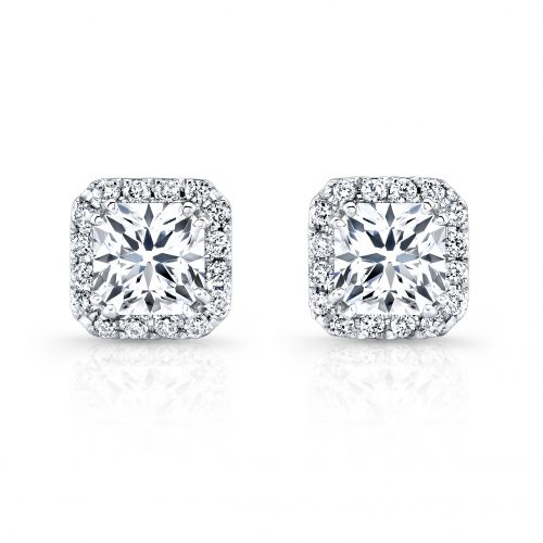 fm26952 18w 500x500 - 18K WHITE GOLD DIAMOND HALO STUD EARRINGS