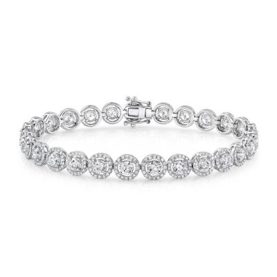 halo bareclet 400x400 - 18K WHITE GOLD DIAMOND HALO BRACELET