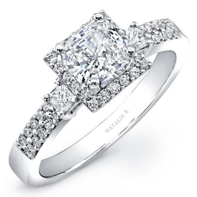ik 1 400x400 - 14K WHITE GOLD THREE STONE PRINCESS CUT HALO DIAMOND ENGAGEMENT SEMI MOUNT RING
