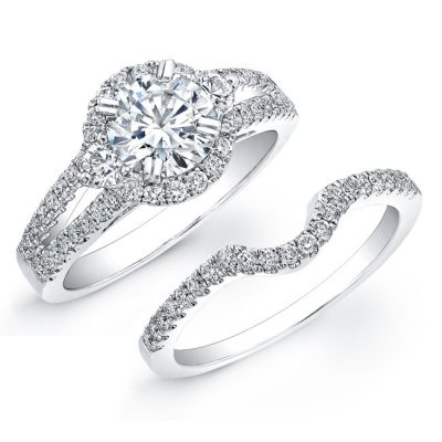 nk19006we w 3 400x400 - 18K WHITE GOLD DIAMOND PAVE SPLIT SHANK BRIDAL RING SET
