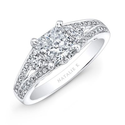 nk26630 18w three qrtr 3 400x400 - 18K WHITE GOLD SPLIT SHANK DIAMOND ENGAGEMENT RING FOR A PRINCESS CUT CENTER
