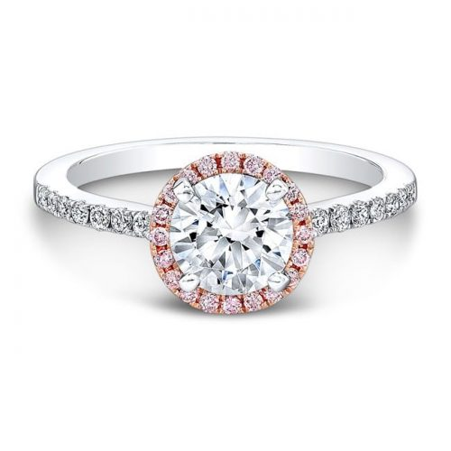 nk28669pk 18wr front fm 1 1 500x500 - 18K WHITE AND ROSE GOLD PINK AND WHITE DIAMOND HALO ENGAGEMENT RING