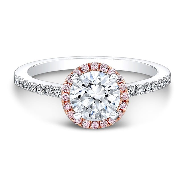 and engagement white rose halo rings ring gold round miracle gabriel double pink