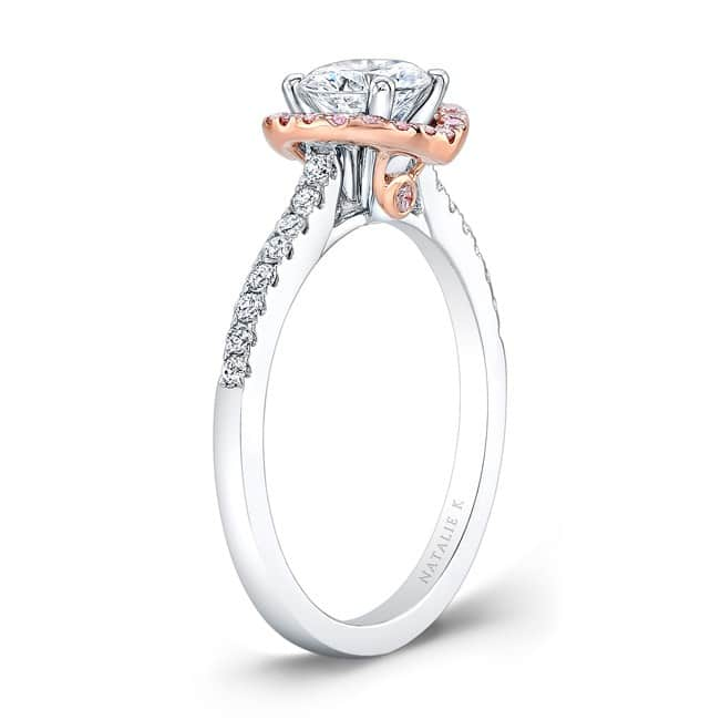 18k White And Rose Gold Pink And White Diamond Halo