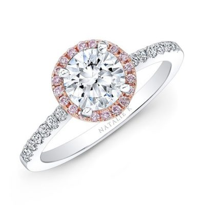 nk28669pk 18wr three qrtr 3 1 400x400 - 18K WHITE AND ROSE GOLD PINK AND WHITE DIAMOND HALO ENGAGEMENT RING
