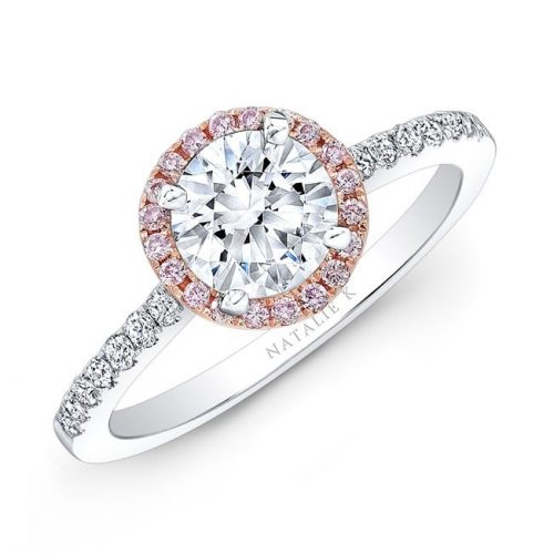 nk28669pk 18wr three qrtr 3 1 500x499 - 18K WHITE AND ROSE GOLD PINK AND WHITE DIAMOND HALO ENGAGEMENT RING