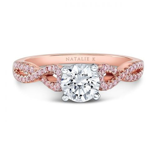 nk28670pk 18rw front fm 500x500 - 18K WHITE AND ROSE GOLD TWISTED SHANK PINK DIAMOND ENGAGEMENT RING