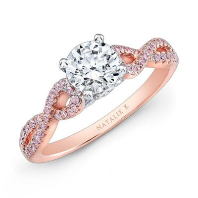 nk28670pk 18rw three qrtr 400x400 - 18K WHITE AND ROSE GOLD TWISTED SHANK PINK DIAMOND ENGAGEMENT RING