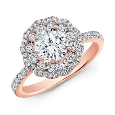 nk29672 18r three qrtr 1 1 400x400 - 18K ROSE GOLD DOUBLE HALO DIAMOND ENGAGEMENT RING