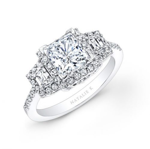 what 500x499 - 18K WHITE GOLD PRINCESS CUT DIAMOND ENGAGEMENT RING WITH TRAPEZOID SIDE STONES