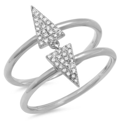 0.11CT 14K WHITE GOLD DIAMOND PAVE TRIANGLE RING 400x400 - 0.11CT 14K WHITE GOLD DIAMOND PAVE TRIANGLE RING SC55001167