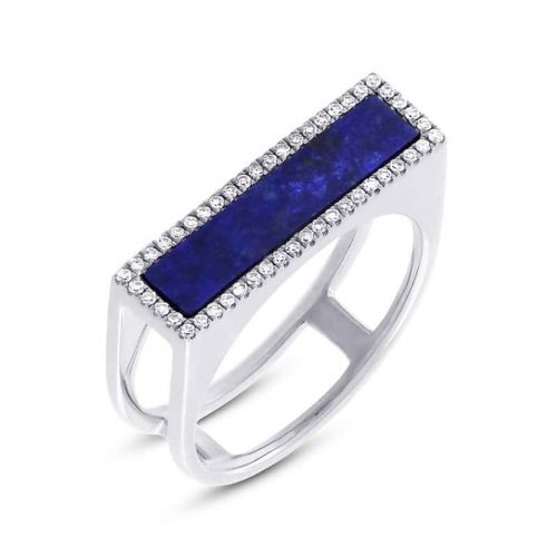 0.15CT DIAMOND 1.06CT LAPIS 14K WHITE GOLD LADYS RING 500x500 - 0.15CT DIAMOND & 1.06CT LAPIS 14K WHITE GOLD LADY'S RING