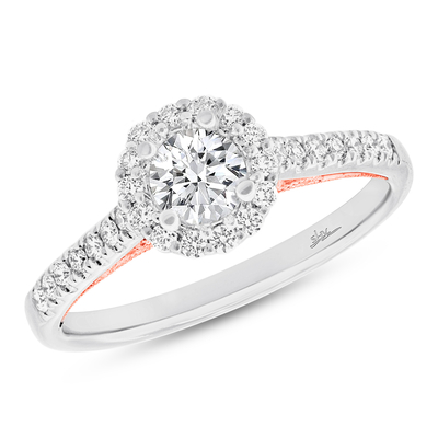 0.27CT 18K TWO TONE ROSE GOLD DIAMOND SEMI MOUNT RING FOR 0.50CT CENTER - 0.27CT 18K TWO-TONE ROSE GOLD DIAMOND SEMI-MOUNT RING FOR 0.50CT CENTER