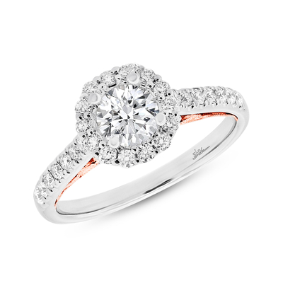 0.41CT 18K TWO TONE ROSE GOLD DIAMOND SEMI MOUNT RING FOR 0.75CT CENTER - 0.41CT 18K TWO-TONE ROSE GOLD DIAMOND SEMI-MOUNT RING FOR 0.75CT CENTER
