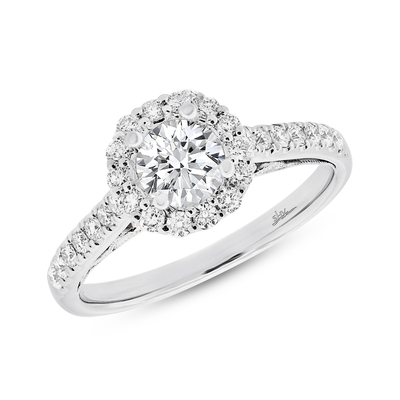 0.41CT 18K WHITE GOLD DIAMOND SEMI MOUNT RING FOR 0.75CT CENTER - 0.41CT 18K WHITE GOLD DIAMOND SEMI-MOUNT RING FOR 0.75CT CENTER