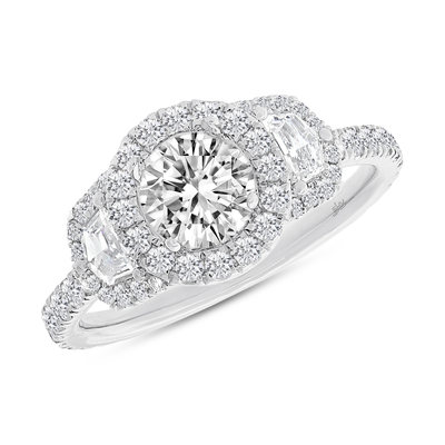 1.00CT 18K WHITE GOLD DIAMOND SEMI MOUNT RING FOR 1.00CT CENTER - 1.00CT 18K WHITE GOLD DIAMOND SEMI-MOUNT RING FOR 1.00CT CENTER
