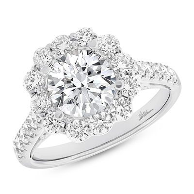 1.08CT 18K WHITE GOLD DIAMOND SEMI MOUNT RING FOR 3.00CT CENTER - 1.08CT 18K WHITE GOLD DIAMOND SEMI-MOUNT RING FOR 3.00CT CENTER