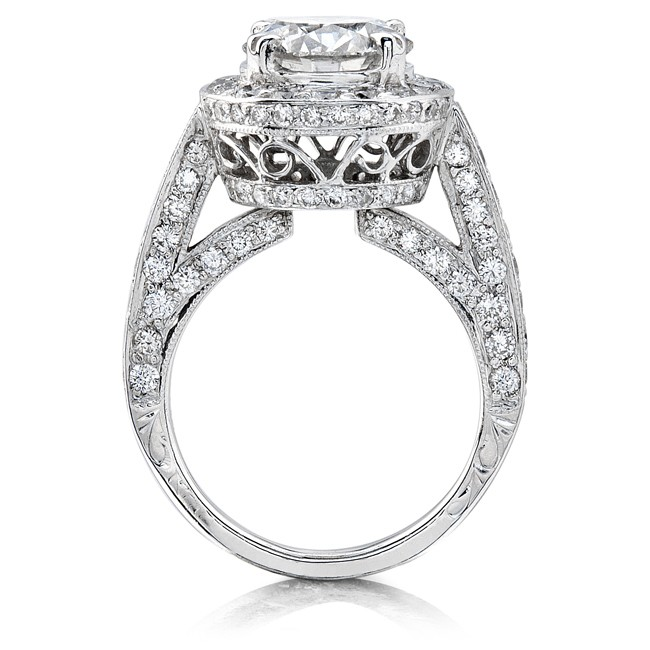 14k White Gold Pave Set Diamond Halo Engagement Semi Mount