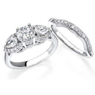 bridale set 400x400 - 14K WHITE GOLD PEAR SHAPED DIAMOND THREE STONE BRIDAL SET NK11871WE-W