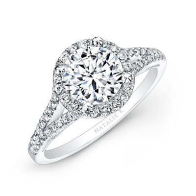 halo round 400x400 - 18K WHITE GOLD SPLIT SHANK PRONG HALO WHITE DIAMOND ENGAGEMENT RING