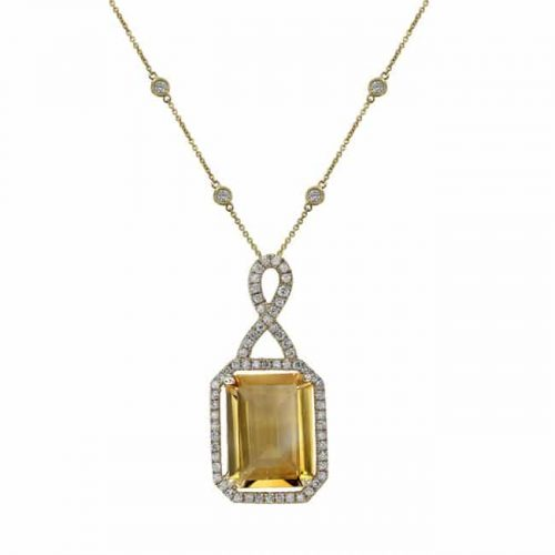 nk19375ct y 3 1 500x500 - 14K YELLOW GOLD CITRINE DIAMOND NECKLACE
