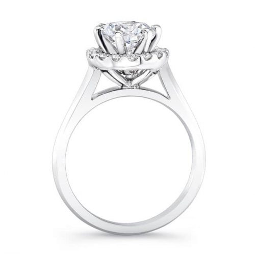 nk24154 w profile 1 500x499 - 18K WHITE GOLD DIAMOND HALO ENGAGEMENT RING