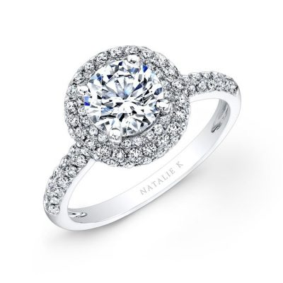 nk26327 w 3 400x400 - 18K WHITE GOLD PAVE HALO DIAMOND ENGAGEMENT RING