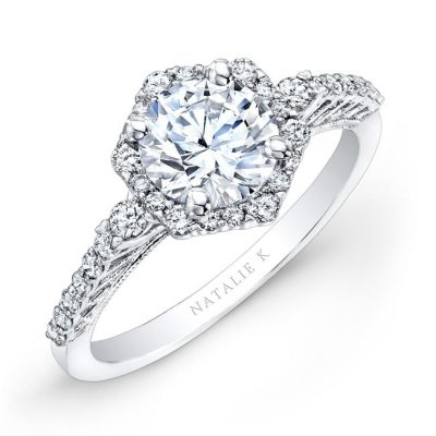 nk26336 w three qrtr 1 3 400x400 - 18K WHITE GOLD PRONG HALO WHITE DIAMOND ENGAGEMENT RING