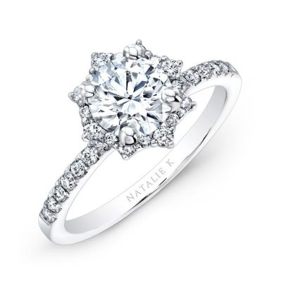 nk26674 w three qrtr 1 3 400x400 - 18K WHITE GOLD STAR HALO WHITE DIAMOND ENGAGEMENT RING