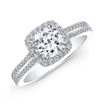 nk27527 18w three qrtr 3 400x400 - 18K WHITE GOLD SPLIT SHANK SQUARE HALO DIAMOND ENGAGEMENT RING